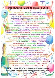 English Worksheets: 100 ways to praise a child