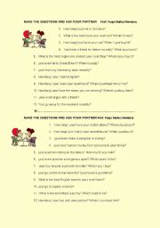 English worksheet: PRESENT PRESENT AND PAST SIMPLE SPOKEN INTERACTION