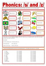 English Worksheet: Phonics: /s/ + /z/