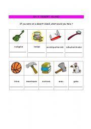 English worksheet: on a desert island