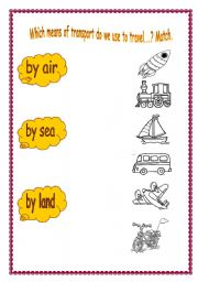 wHICH MEANS OF TRANSPORT DO WE USE TO TRAVEL   ?MATCH - ESL