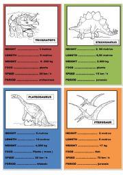 English Worksheet: dinosaurs cards ( set 2 )