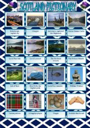 Scotland pictionary with written practice of the attractions´ names