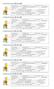 English Worksheet: verb to be -The Simpsons