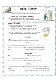 English Worksheet: WISH & IF ONLY