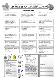 English Worksheet: Let�s talk about TECHNOLOGY
