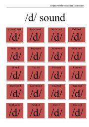 Regular Verbs Pronunciation Cards Game /d/ sound