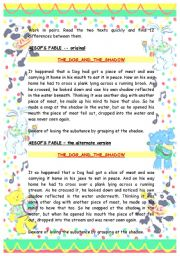 English Worksheet: Aesop´s fable- spot the difference in the text