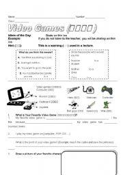 English Worksheet: Video Games