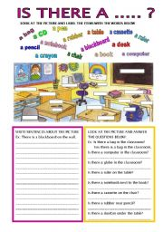 English Worksheets: THERE IS / THERE ISN�T