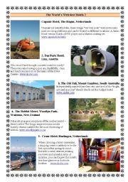 English Worksheet: The World´s Weirdest Hotels 2