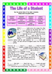 English Worksheet: The Life of a Student - A two-page mixed tense ws with key
