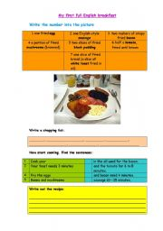 English Worksheet: My first English breakfast