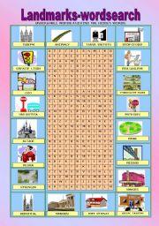 English Worksheet: Landmarks WORDSEARCH + THE KEY!