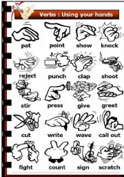 English Worksheets: Verbs: Using your hands