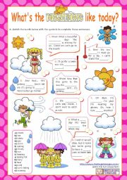 English worksheet: What´s the weather like today?  (1/2) - Vocabulary worksheet for Elementary and Lower Intermediate students