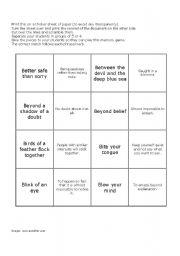 English Worksheets: Idioms Memory Game 6