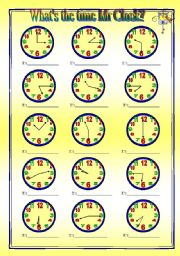 English Worksheet: What´s the time Mr Clock? - worksheet