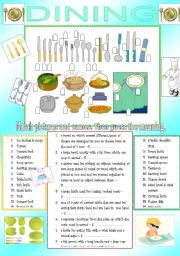 English Worksheet: DINNING