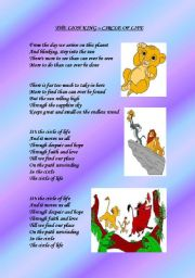 English Worksheet: THE LION KING - THE CIRCLE OF LIFE