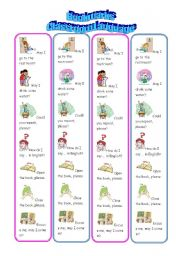 English Worksheet: Bookmarks - Classroom Commands