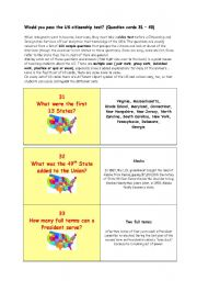 ** Would you pass the US citizenship test? ** THE MOST IMPORTANT FACTS ABOUT THE USA ** (Question cards 31 – 40)