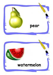 English Worksheet: Fruits flashcards 1