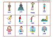 English Worksheet: Adjectives and Opposites Cards Game