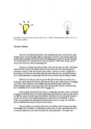 English Worksheets: Thomas Edison reading text with questions
