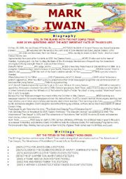 English Worksheets: MARK TWAIN - the reading/writing adventure