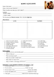 English Worksheet: Romeo and Juliette - worksheet to use with the film.