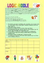 English Worksheet: TIMESAVER : LOGIC RIDDLE - GIFTS