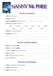 English Worksheets: Nanny Mc Phee : Film. Worksheet part one (2 pages + answers)