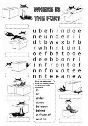 English Worksheet: WHERE IS THE FOX? WORDSEARCH