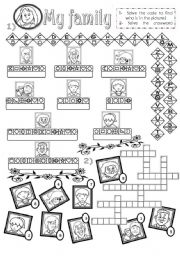 English Worksheets: My family - solve the code