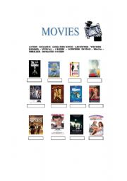 English Worksheets: Movies genres and famous quotes