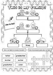 English Worksheets: This is my family! (2)