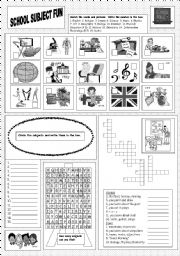 English Worksheets: School Subject Fun