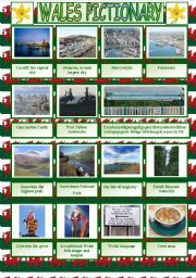 Wales pictionary plus written practice of the attractions´names