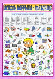 English Worksheets: School Supplies - Matching