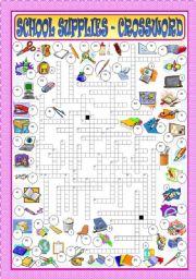 English Worksheet: School Supplies - Crossword