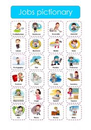 English Worksheets: Jobs pictionary