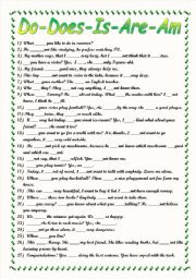 English Worksheet: Do-Does-Is-Are-Am