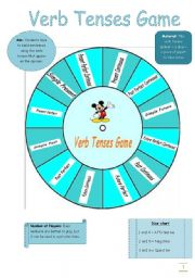 English Worksheet: Verb Tenses Game