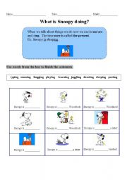 English worksheet: Present Continuous-What is Snoopy Doing?