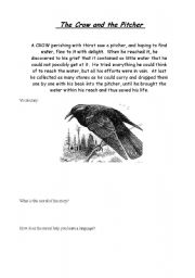English Worksheets: The Crow and the Pitcher