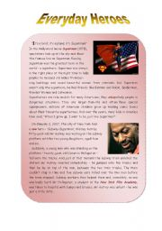 English Worksheet: Everyday Heroes - 2 pages