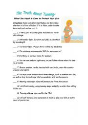 English Worksheets: The Truth about  Tanning