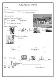 English worksheet: Students´ data
