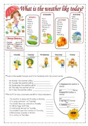 English Worksheet: Weather vocabulary.
